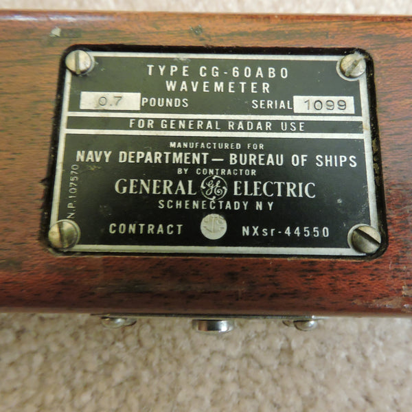 Frequency Wavemeter, GE CG-60ABO, for Ships Radar, US Navy Dept of Ships