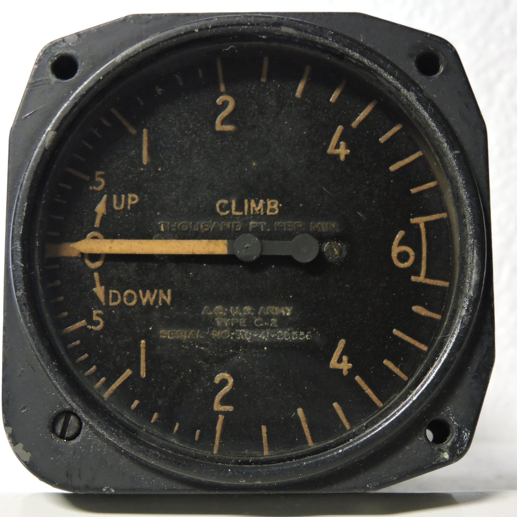 Rate of Climb / Vertical Speed Indicator, 6000 ft/min, Type C-2, US Army Air Corps