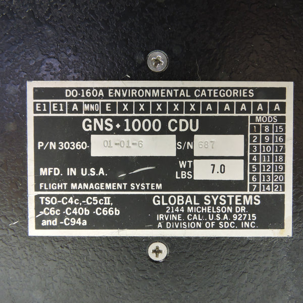 Flight Management System Panel GNS-1000 CDU