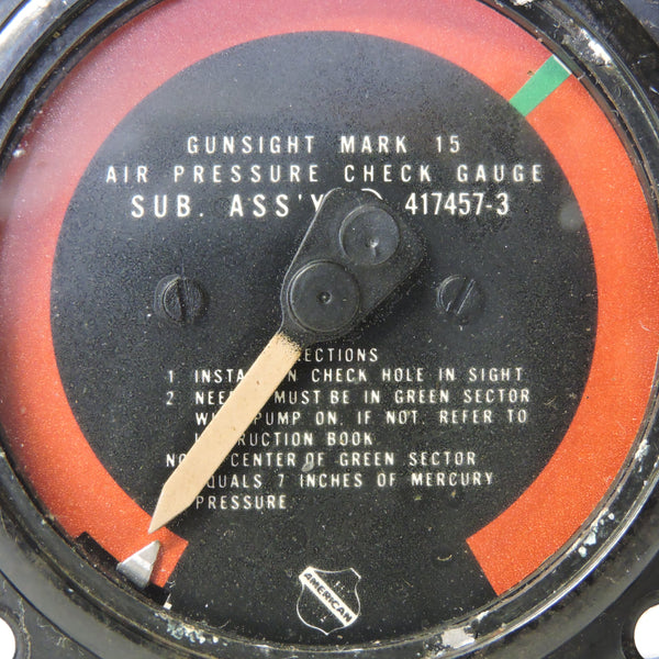 Gun Sight Mk 15 Air Pressure Check Gauge US Navy
