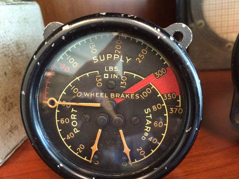 Brake Pressure Triple Gauge, AHO 1235, Royal Canadian Air Force
