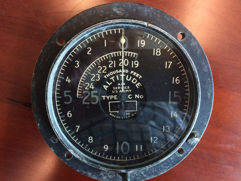 Altimeter, Type C, Tyco, 25,000FT, WWI to 1926 Air Service USArmy