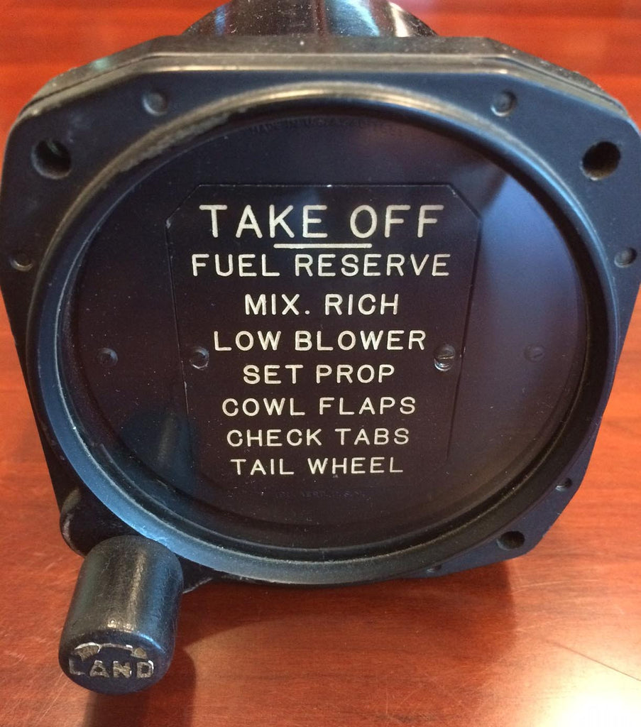 Take-off & Landing Checklist Indicator, SBD Dauntless, F4U-1 Corsair
