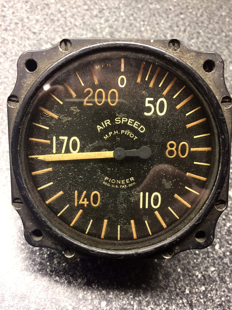 Airspeed Indicator, 30-200 MPH Pioneer WWII, 1402-2D-C2-1059