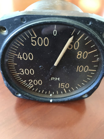 Airspeed Indicator, 500MPH, Army Type D-7, US Army Air Force, WWII