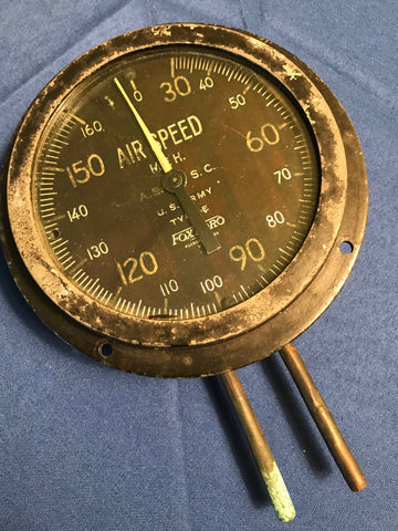 Airspeed Indicator, WWI, US Army Type E, 160 MPH