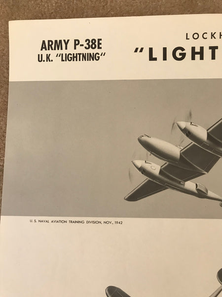 Aircraft Recognition Poster, P-38 Lightning Fighter, 1942