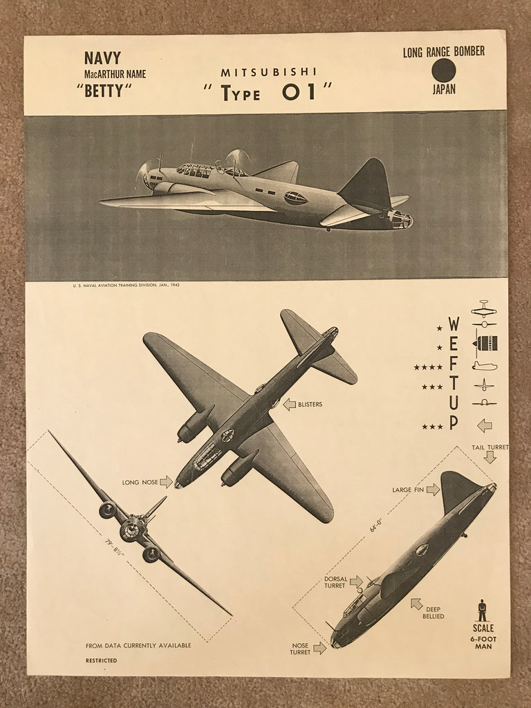 Aircraft Recognition Poster, Japanese Navy Mitsubishi Type 01 Betty Bomber, 1943