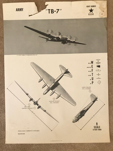 Aircraft Recognition Poster, USSR Petlyakov TB-7 (Pe-8) Heavy Bomber, 1944