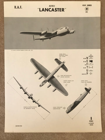 Aircraft Recognition Poster, Avro Lancaster Bomber British RAF, 1942