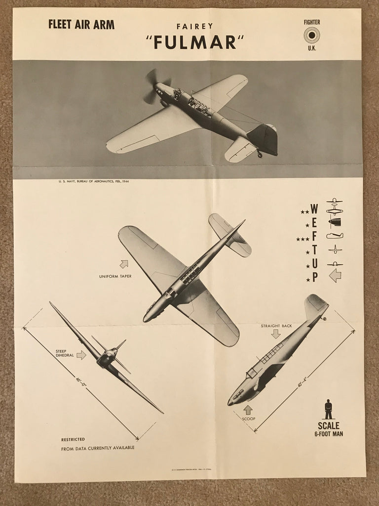 Aircraft Recognition Poster, Fairey Fulmar Fighter, British Fleet Air Arm 1944