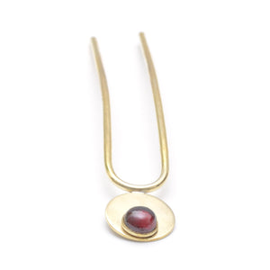 Garnet + Brass Alto Mini Gemstone Hair Pin