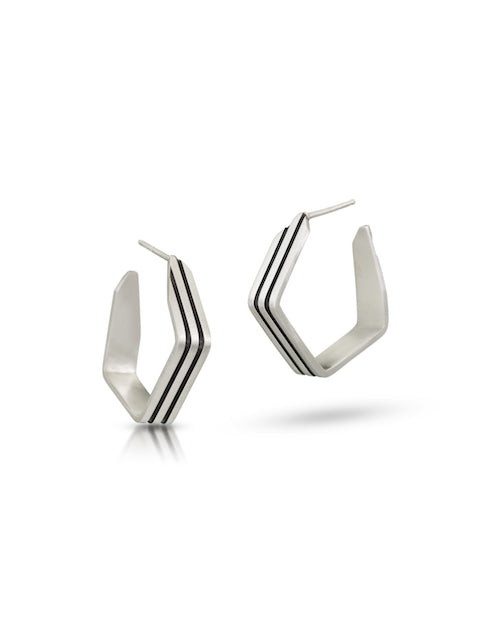 ES15 - Folded Stripe Hoops - Small and Large