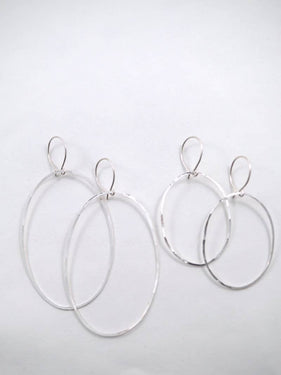 Hannah Naomi - Large Sterling Silver Oval Hoops