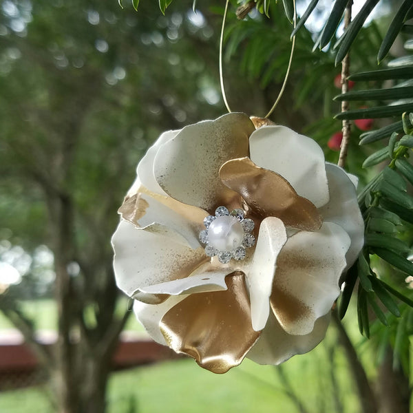 Ivory and Gold Puff Flower Ornament