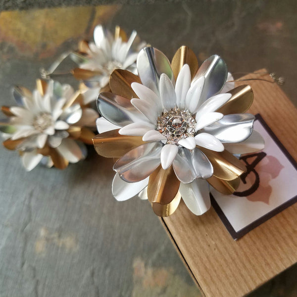 Space Age Gold and Silver Flower Ornament