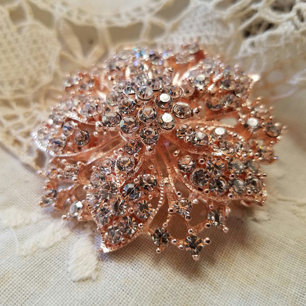 Rose Gold Tone Rhinestone Flower Embellishment or Brooch