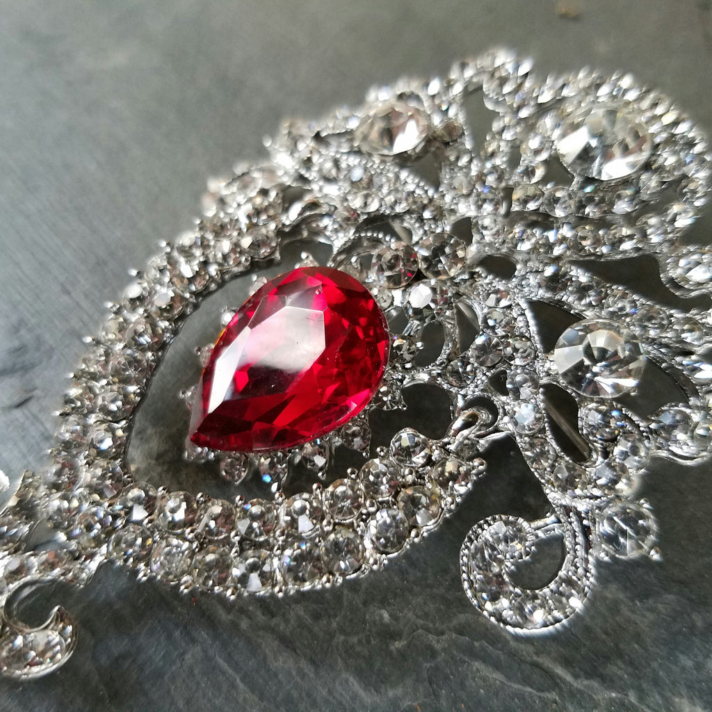 Dangling Red and Clear Rhinestone Brooch