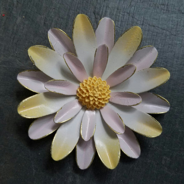 Distressed Large Pink and Yellow Sunburst Brooch
