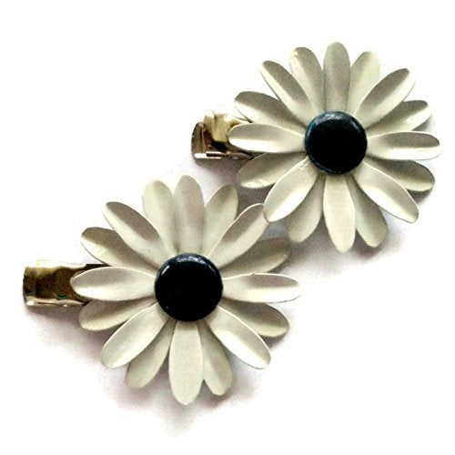 White and Navy Daisy (set of 2)