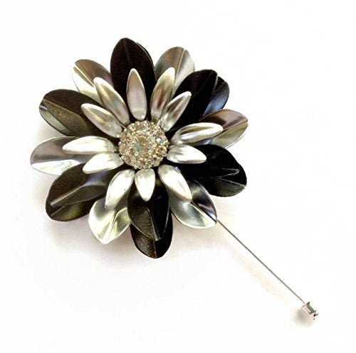 Large Black and Silver Lapel Pin