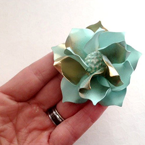 50s Style Seafoam Green and Gold Tone Gardenia
