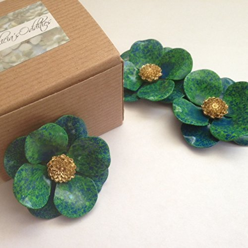 Blue Green Brooch with Gold Tone Accent