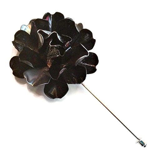 Black and Silver Tone Flower Lapel Pin