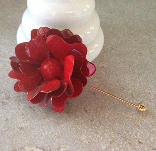 60's Style Red Rose Lapel Pin