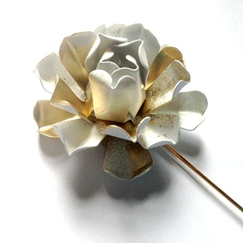Metal White and Gold Tone Lapel Pin