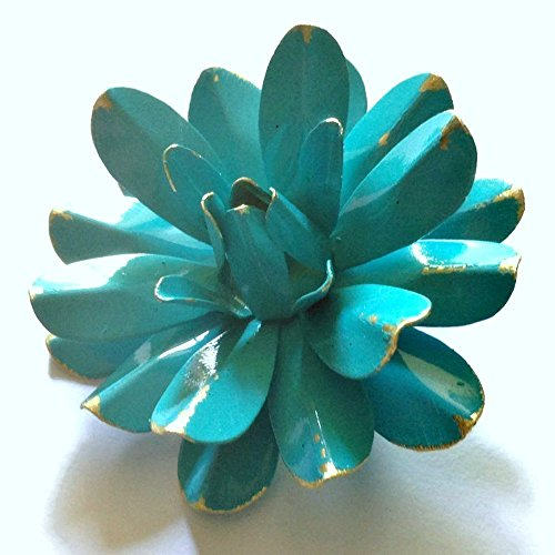 60s Style Bright Aqua Blue Antiqued Water Lily