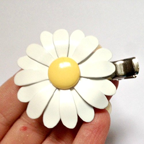 70's Style White and Yellow Hair Clip