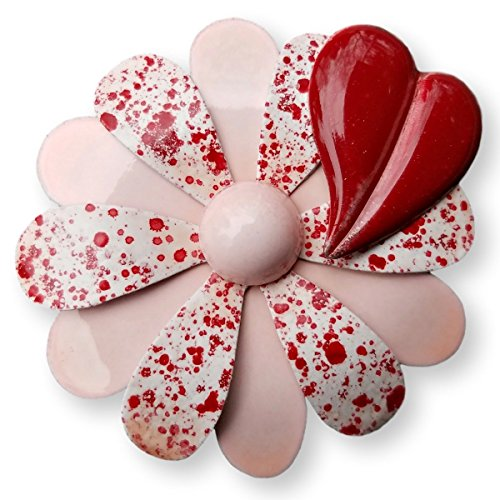Pink and Red Flower Brooch with Heart