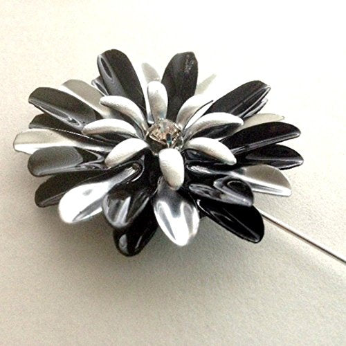 Black and Silver Tone Daisy Lapel Pin