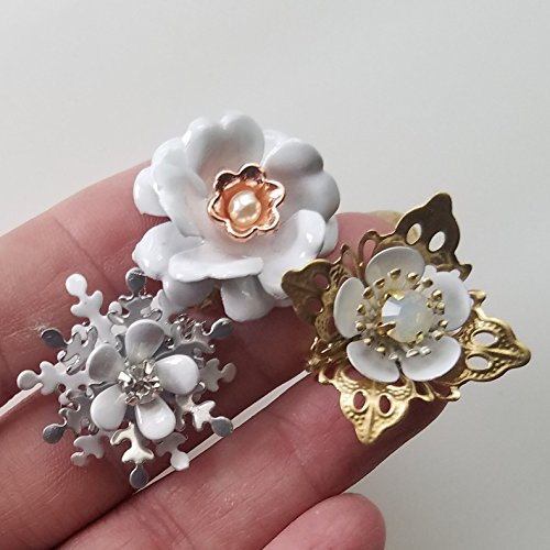 Tiny Mini White Brooch (set of 3)