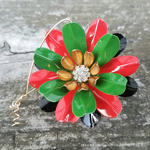 Kwanzaa Ornament Painted Metal Flower