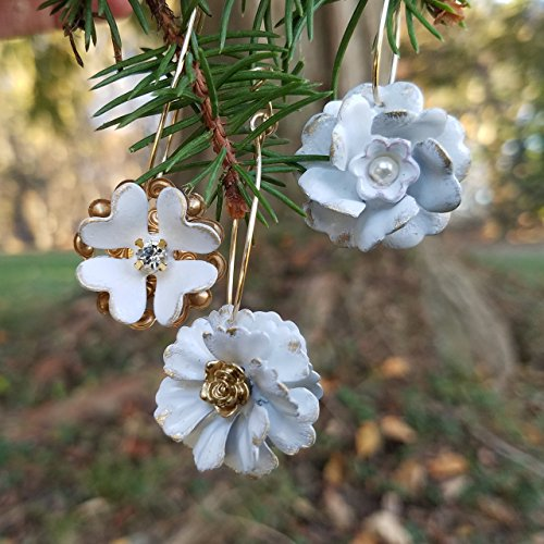 Tiny Mini Ornaments Brass and White (set of 3)
