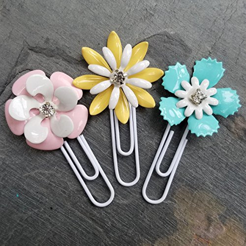 Pastel Metal Flower Planner Clip Set