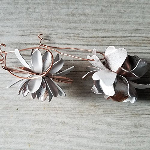 Copper Tone and White Ornaments (set of 2)