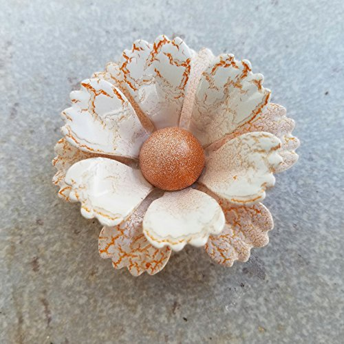 Crackled Orange and White Brooch