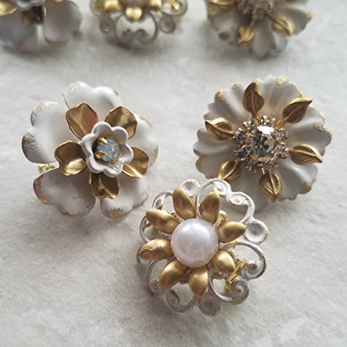 Tiny Mini Off White and Gold (set of 3)
