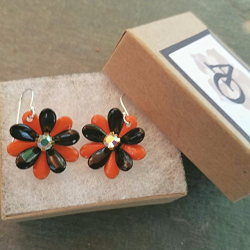 Halloween Flower Earrings Black and Orange with AB Rhinestones