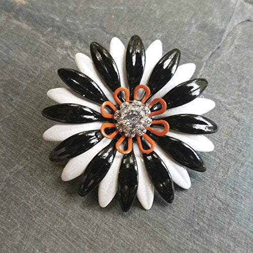 Halloween Brooch, Black White and Orange