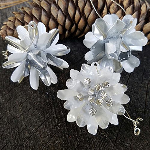 Small Ornament Set White and Silver Tone