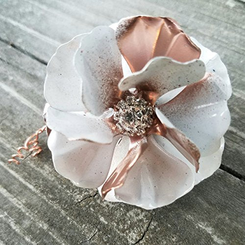 White and Copper Tone Christmas Ornament