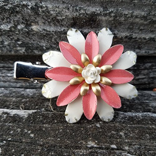 Coral and Ivory Brass Flower Hair Clip