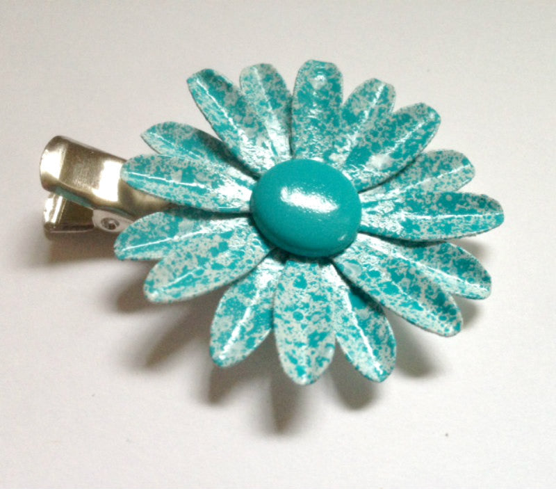 Speckled Turquoise Daisy Hairclip Set