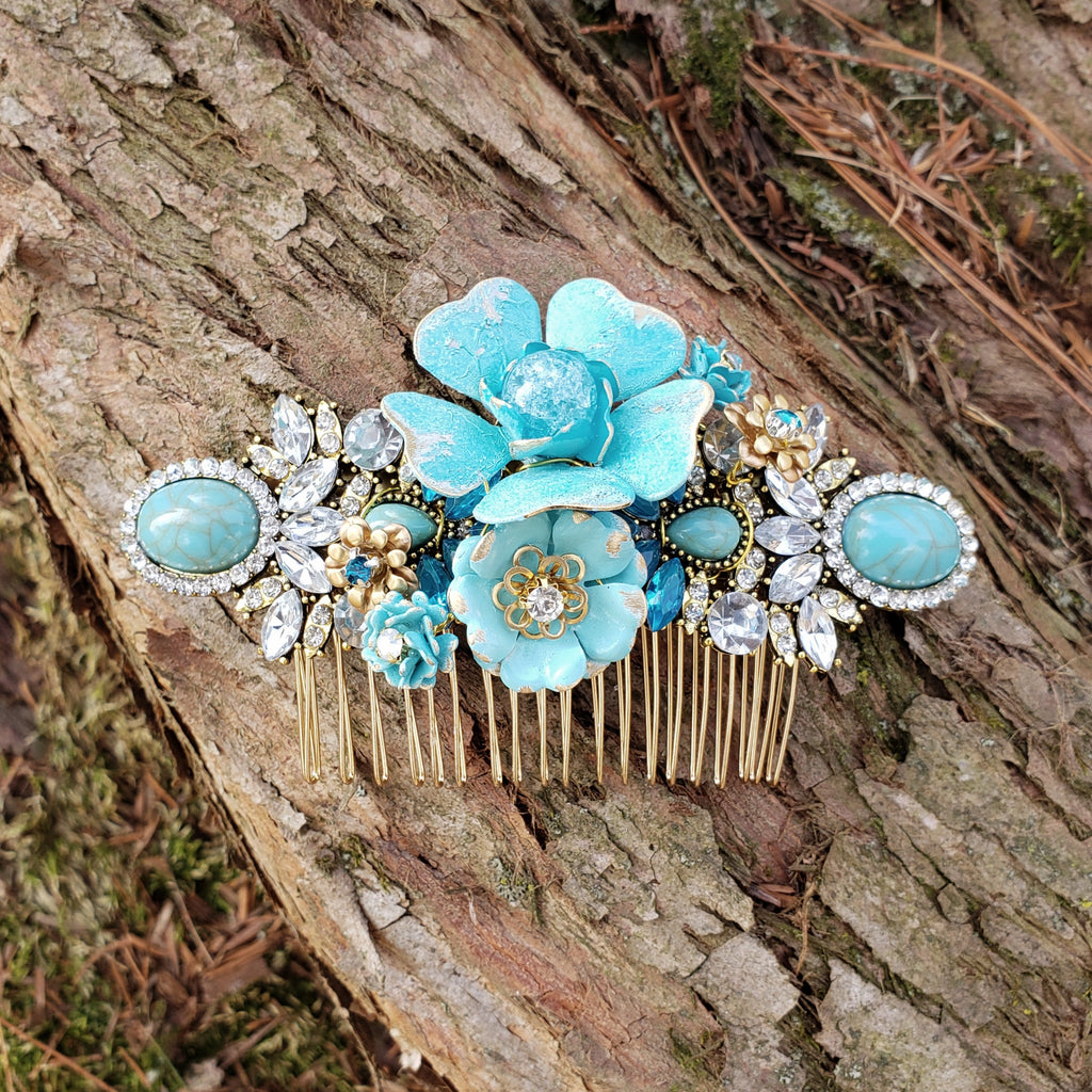 Blue Bridal Comb Enamel Flower Rhinestone Hair Piece Turquoise Blue and Gold Victorian French Country Rustic Vintage Farmhouse Wedding ACC56