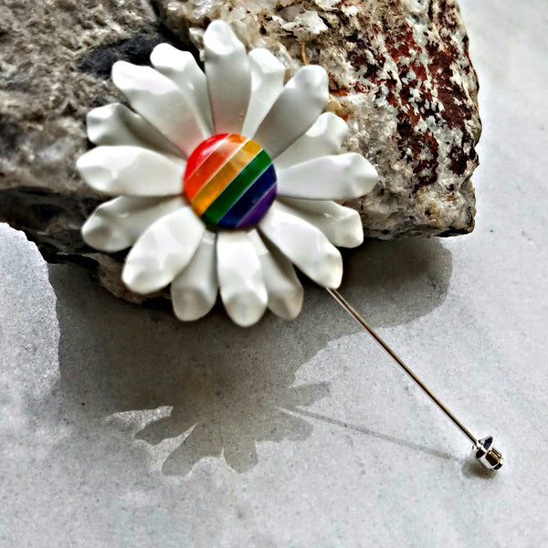 Ruffled Rainbow Daisy Lapel Pin