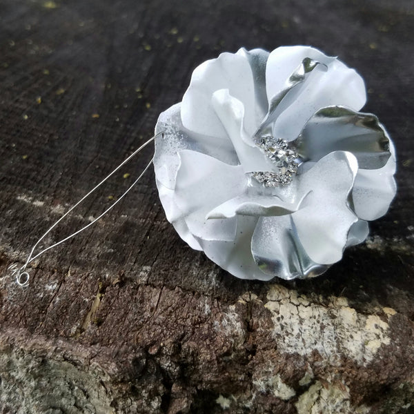 White and Silver Puff Flower Ornament